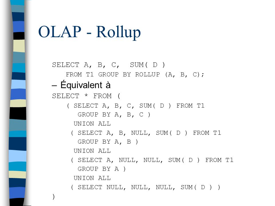 OLAP - Rollup SELECT A, B, C, SUM( D ) FROM T1 GROUP BY ROLLUP (A, B, C); –Équivalent à SELECT * FROM ( ( SELECT A, B, C, SUM( D ) FROM T1 GROUP BY A,