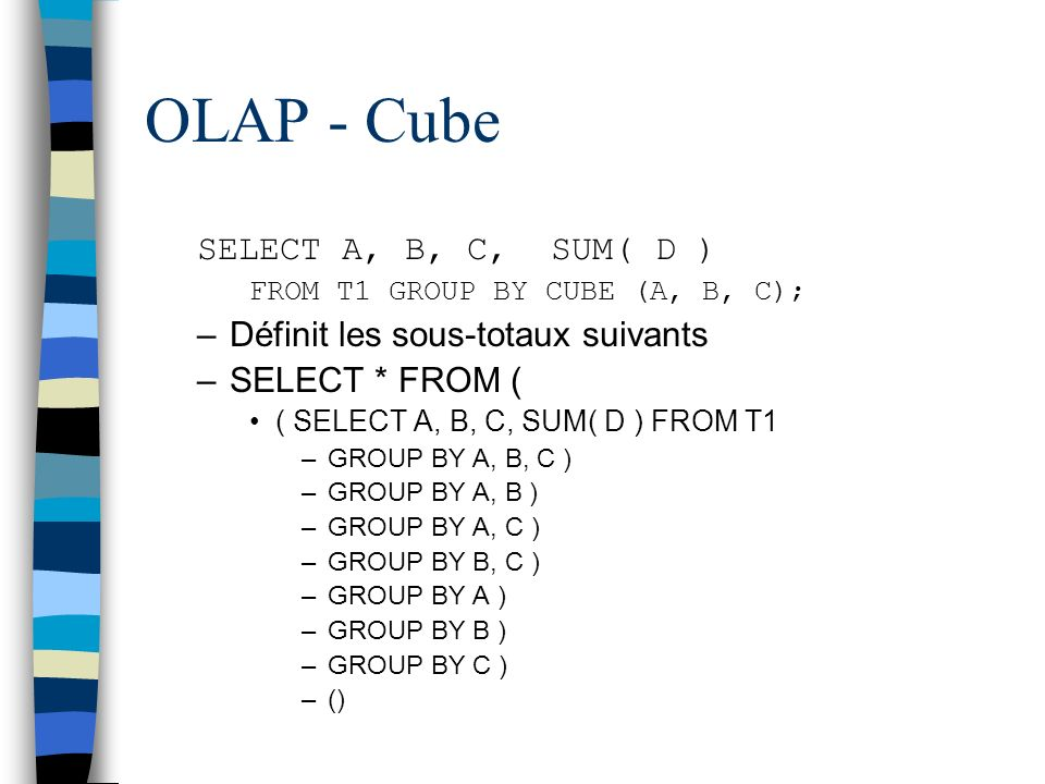 OLAP - Cube SELECT A, B, C, SUM( D ) FROM T1 GROUP BY CUBE (A, B, C); –Définit les sous-totaux suivants –SELECT * FROM ( ( SELECT A, B, C, SUM( D ) FR