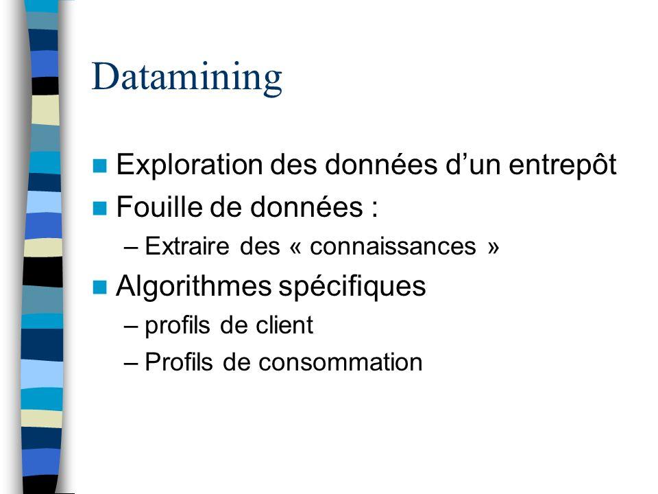 Datamining Exploration des données dun entrepôt Fouille de données : –Extraire des « connaissances » Algorithmes spécifiques –profils de client –Profi