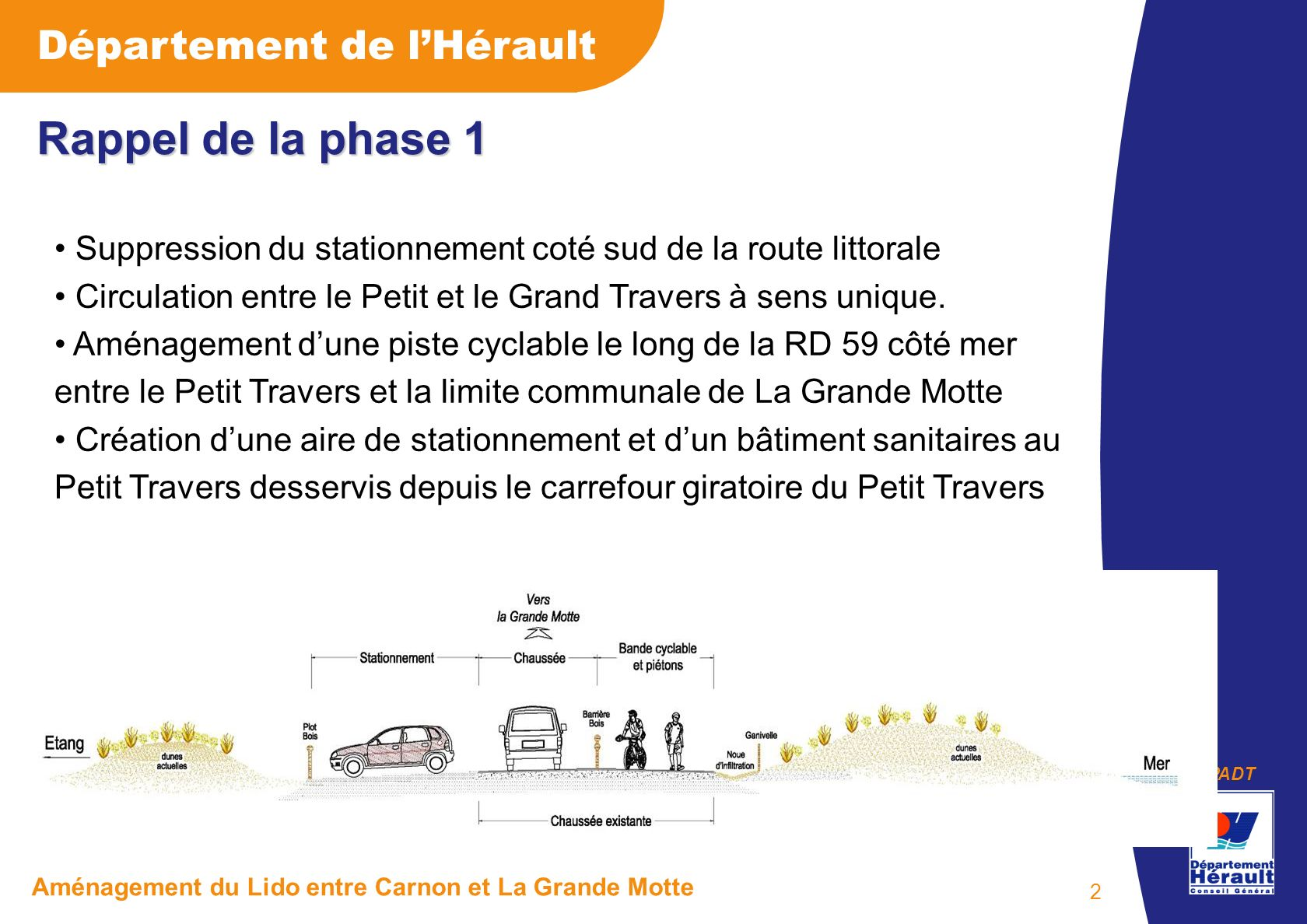 PADT Département de lHérault Aménagement du Lido entre Carnon et La Grande Motte 2 Rappel de la phase 1 Suppression du stationnement coté sud de la ro