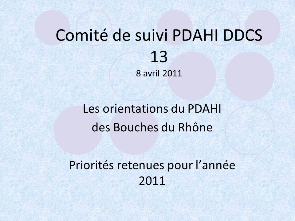 Comité de suivi PDAHI DDCS 13 8 avril 2011 Les orientations du PDAHI des Bouches du Rhône Priorités retenues pour lannée 2011