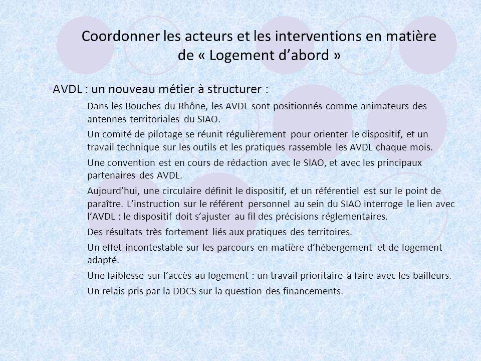 Coordonner les acteurs et les interventions en matière de « Logement dabord » AVDL : un nouveau métier à structurer : o Dans les Bouches du Rhône, les AVDL sont positionnés comme animateurs des antennes territoriales du SIAO.