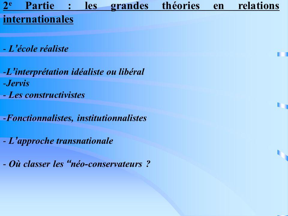 2 e Partie : les grandes théories en relations internationales - Lécole réaliste -Linterprétation idéaliste ou libéral -Jervis - Les constructivistes