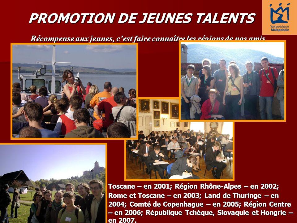 Récompense aux jeunes, cest faire connaître les régions de nos amis Toscane – en 2001; Région Rhône-Alpes – en 2002; Rome et Toscane – en 2003; Land d