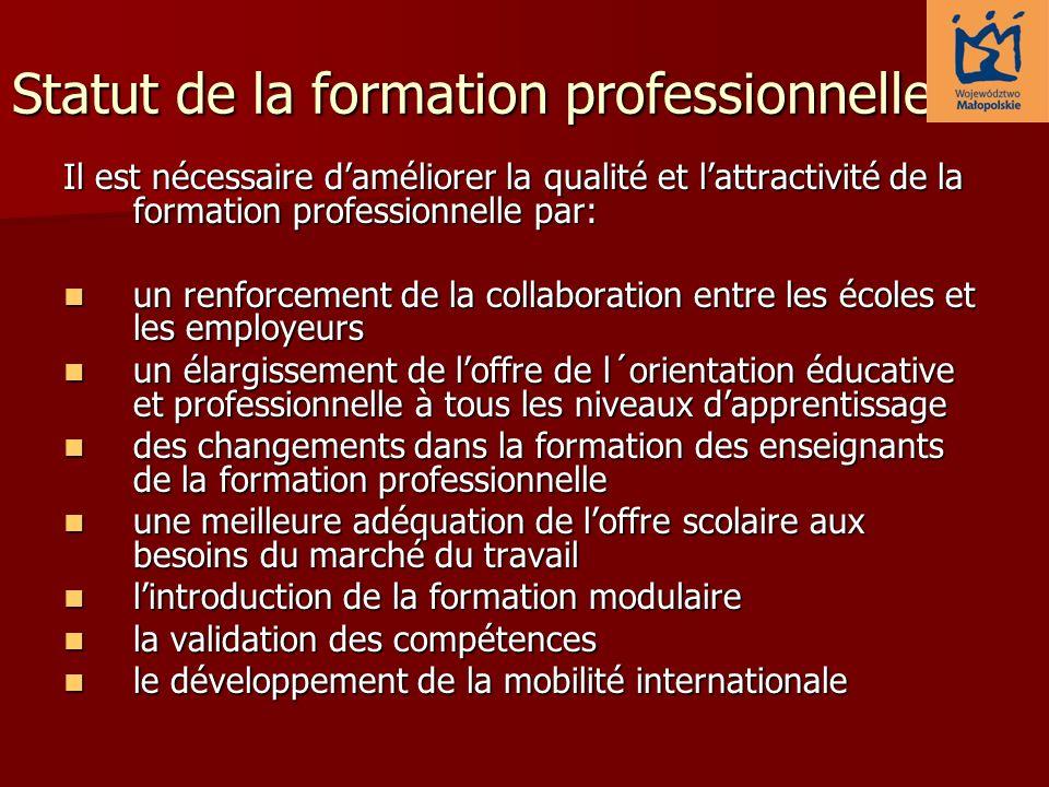 Statut de la formation professionnelle Il est nécessaire daméliorer la qualité et lattractivité de la formation professionnelle par: un renforcement d