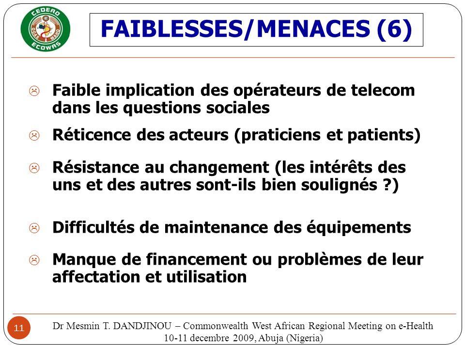 11 Faible implication des opérateurs de telecom dans les questions sociales Réticence des acteurs (praticiens et patients) Résistance au changement (l