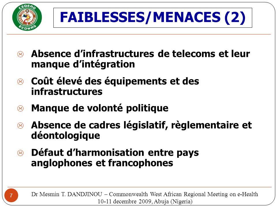 7 Absence dinfrastructures de telecoms et leur manque dintégration Coût élevé des équipements et des infrastructures Manque de volonté politique Absen