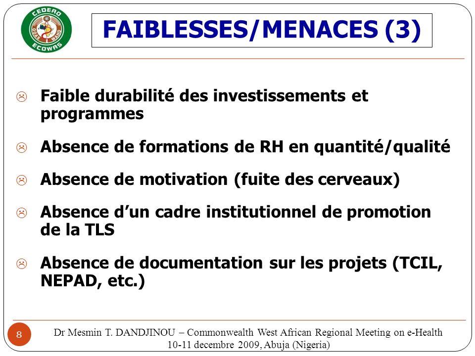 8 Faible durabilité des investissements et programmes Absence de formations de RH en quantité/qualité Absence de motivation (fuite des cerveaux) Absen