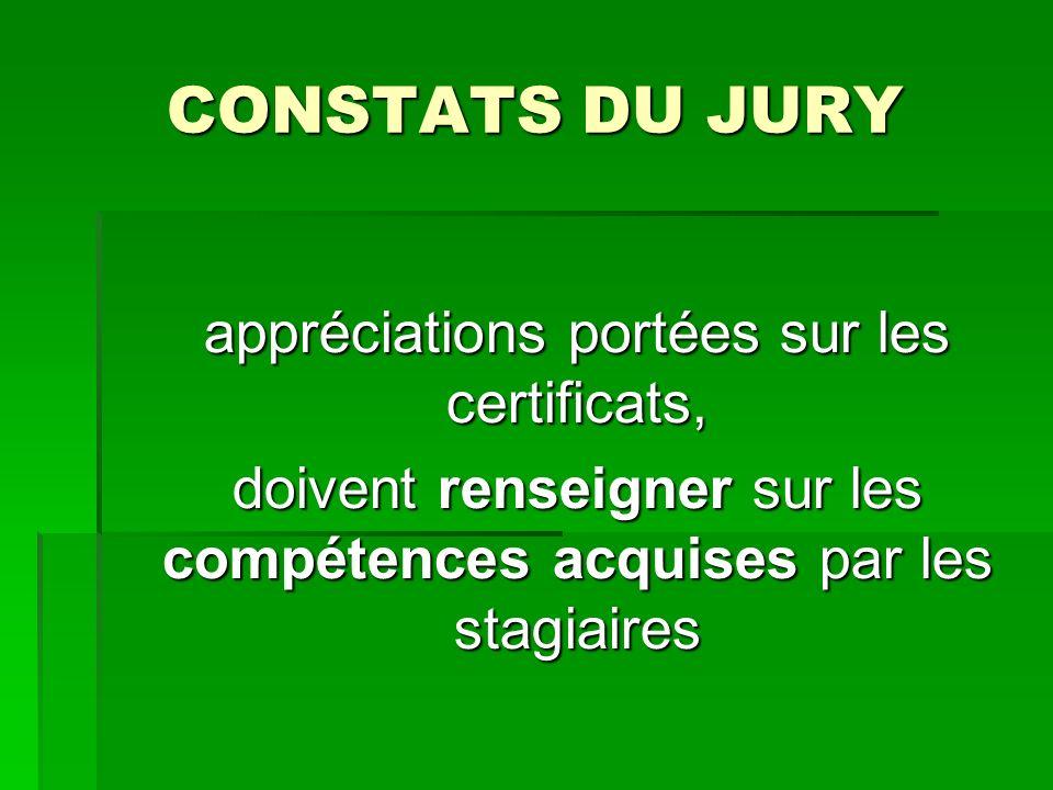 CONSTATS DU JURY appréciations portées sur les certificats, doivent renseigner sur les compétences acquises par les stagiaires