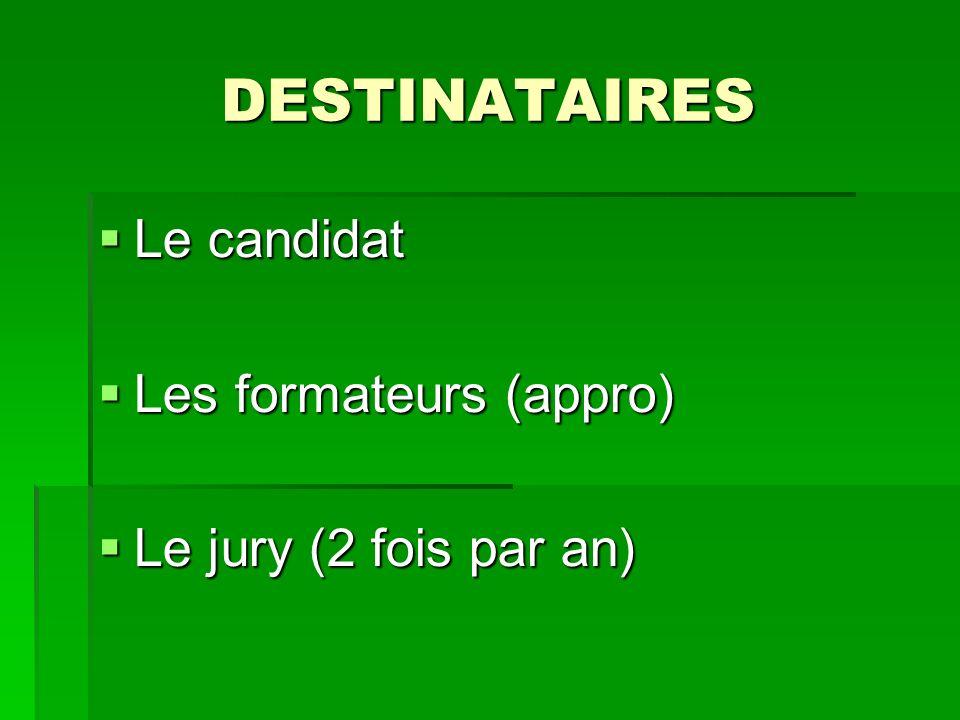 DESTINATAIRES Le candidat Le candidat Les formateurs (appro) Les formateurs (appro) Le jury (2 fois par an) Le jury (2 fois par an)