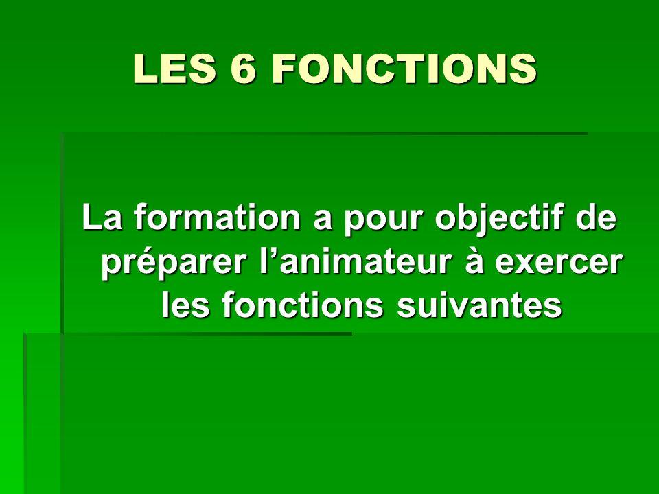 LES 6 FONCTIONS La formation a pour objectif de préparer lanimateur à exercer les fonctions suivantes