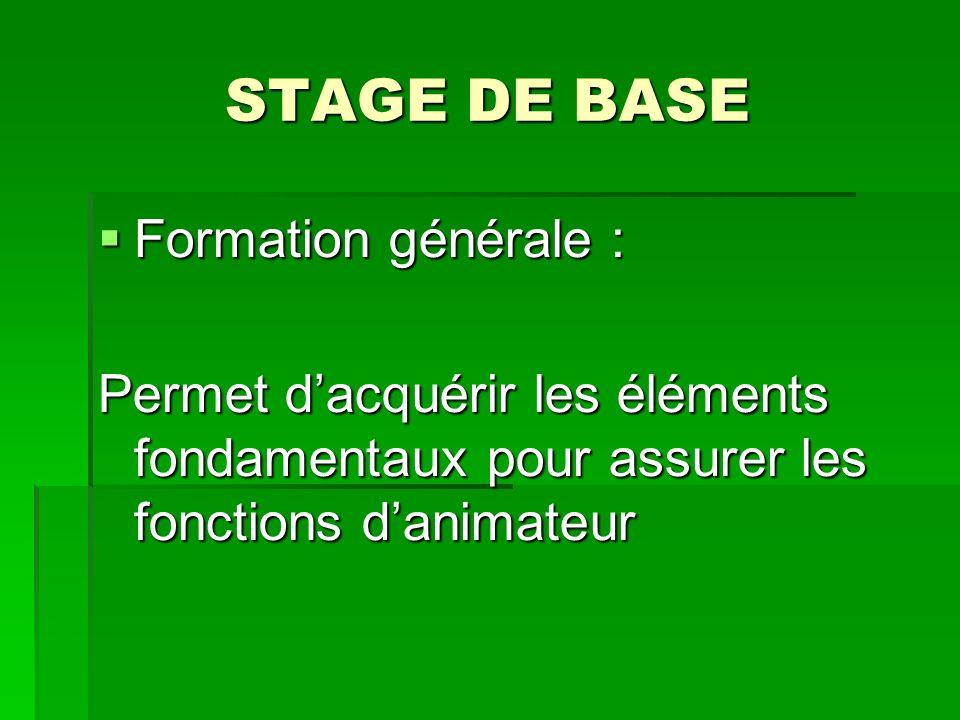 STAGE DE BASE Formation générale : Formation générale : Permet dacquérir les éléments fondamentaux pour assurer les fonctions danimateur