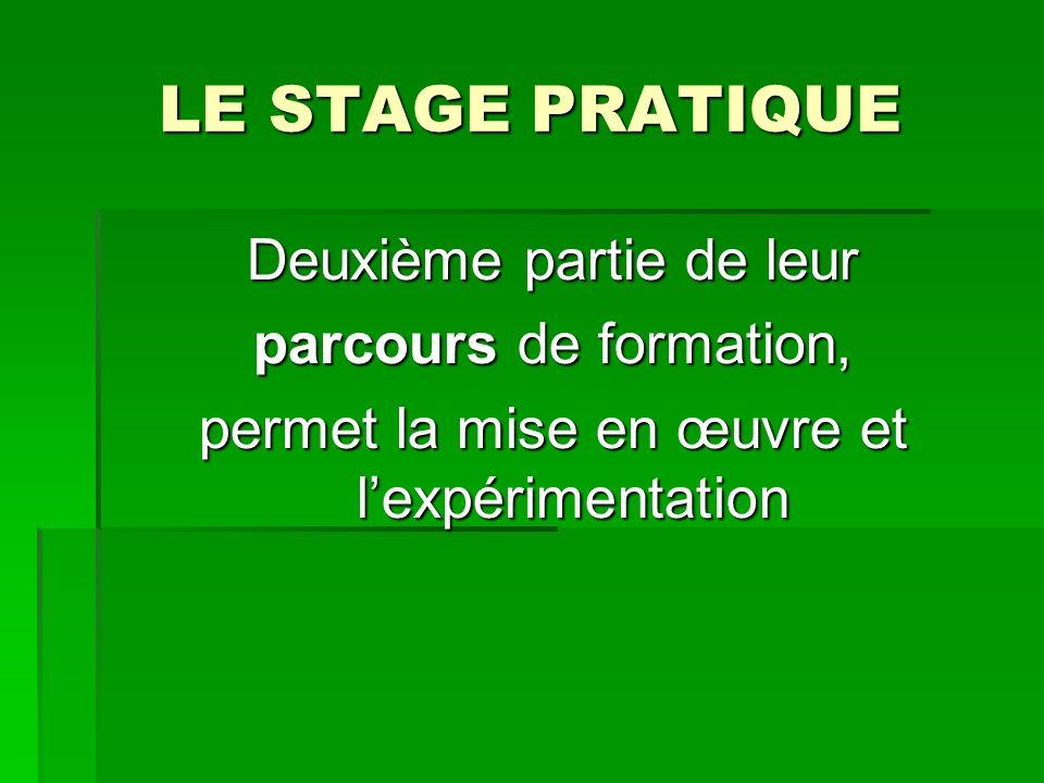 LE STAGE PRATIQUE Deuxième partie de leur parcours de formation, permet la mise en œuvre et lexpérimentation