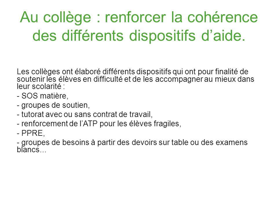 Au collège : renforcer la cohérence des différents dispositifs daide. Les collèges ont élaboré différents dispositifs qui ont pour finalité de souteni