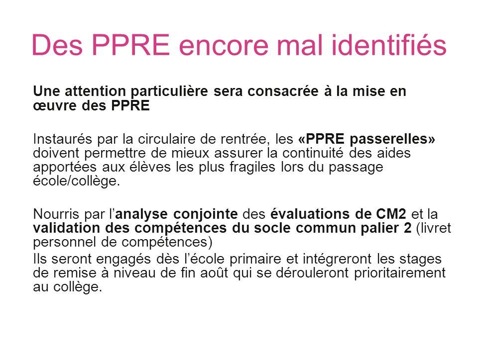 Des PPRE encore mal identifiés Une attention particulière sera consacrée à la mise en œuvre des PPRE Instaurés par la circulaire de rentrée, les «PPRE
