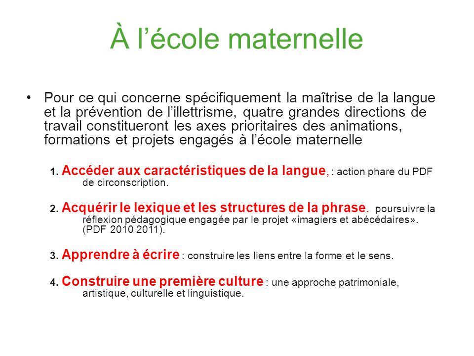 À lécole élémentaire L année 2011 2012 s inscrit dans la continuité du travail engagé pour renforcer l efficacité de l enseignement de la langue française : écouter, dire, lire, écrire.