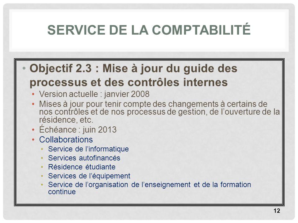 SERVICE DE LA COMPTABILITÉ Objectif 2.3 : Mise à jour du guide des processus et des contrôles internes Version actuelle : janvier 2008 Mises à jour po