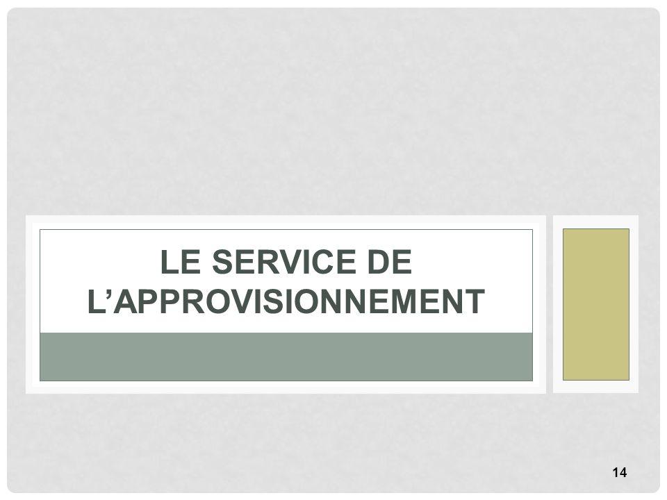 14 LE SERVICE DE LAPPROVISIONNEMENT