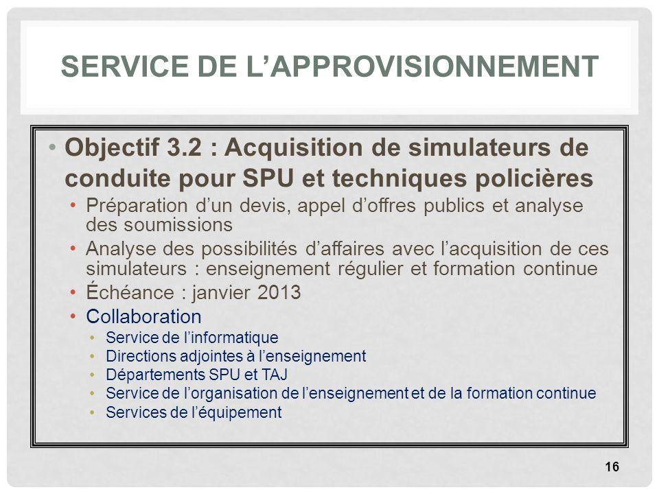 SERVICE DE LAPPROVISIONNEMENT Objectif 3.2 : Acquisition de simulateurs de conduite pour SPU et techniques policières Préparation dun devis, appel dof
