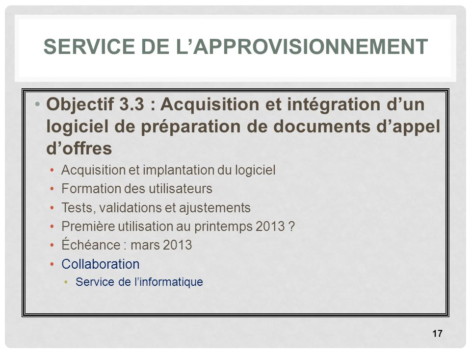 SERVICE DE LAPPROVISIONNEMENT Objectif 3.3 : Acquisition et intégration dun logiciel de préparation de documents dappel doffres Acquisition et implant