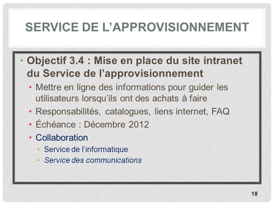 SERVICE DE LAPPROVISIONNEMENT Objectif 3.4 : Mise en place du site intranet du Service de lapprovisionnement Mettre en ligne des informations pour gui