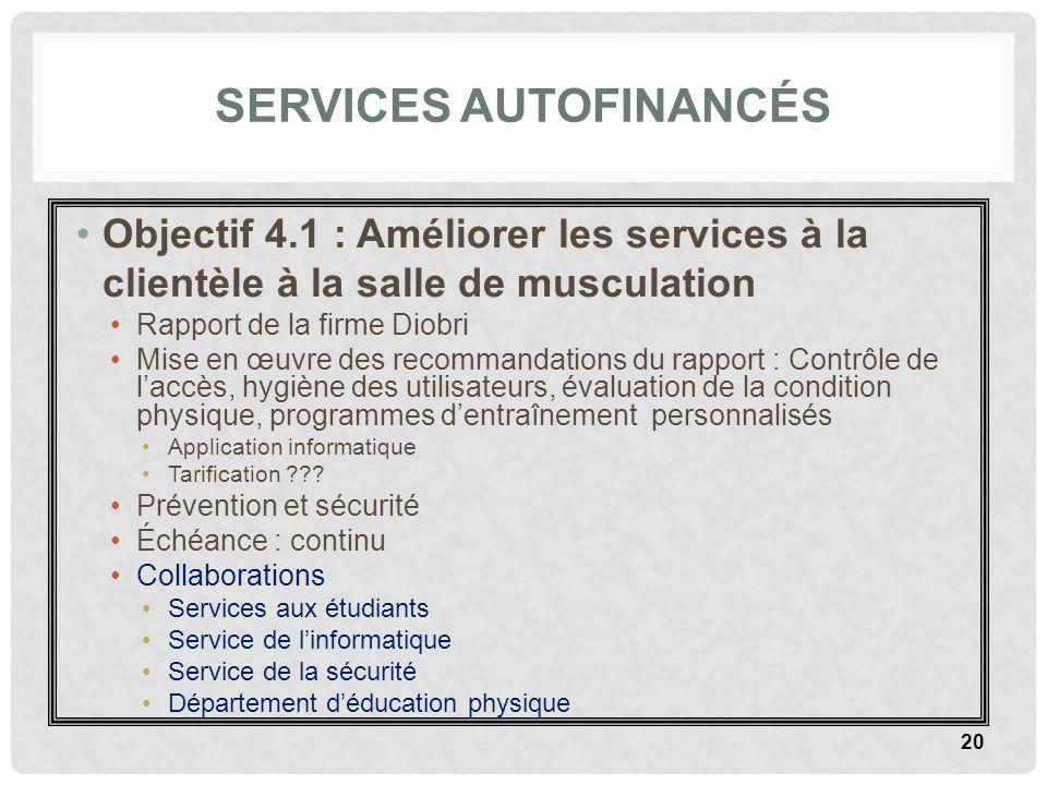 SERVICES AUTOFINANCÉS Objectif 4.1 : Améliorer les services à la clientèle à la salle de musculation Rapport de la firme Diobri Mise en œuvre des reco
