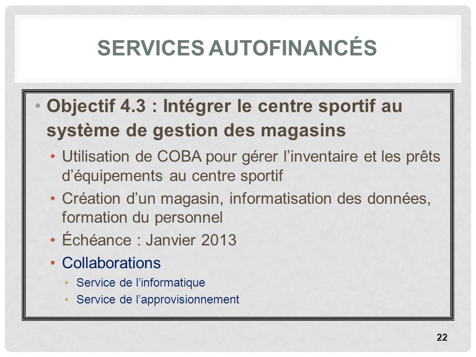 SERVICES AUTOFINANCÉS Objectif 4.3 : Intégrer le centre sportif au système de gestion des magasins Utilisation de COBA pour gérer linventaire et les p