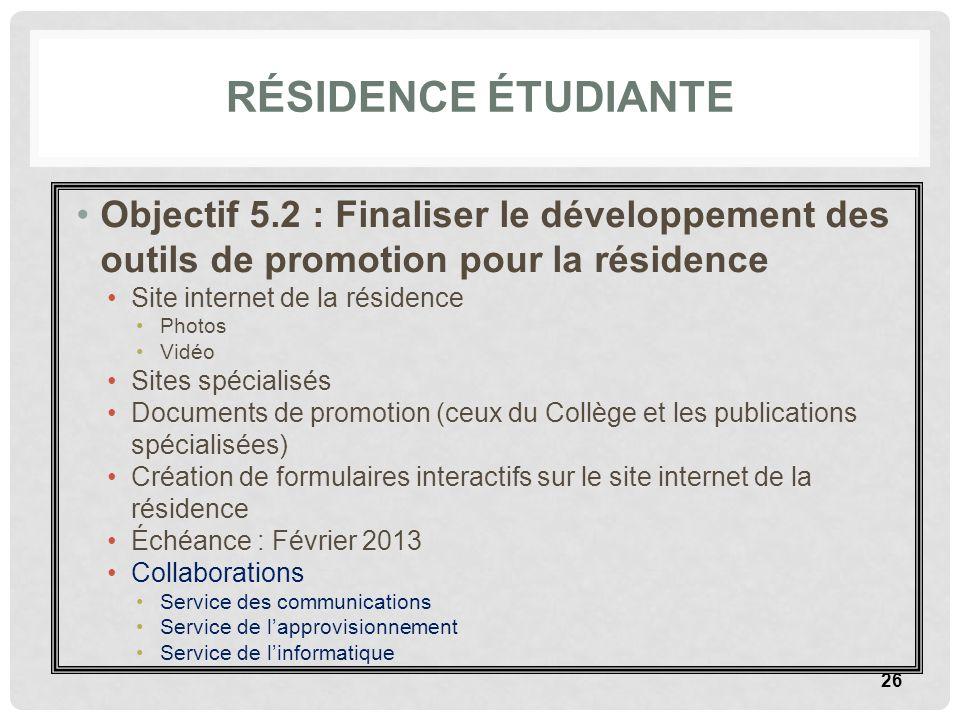 RÉSIDENCE ÉTUDIANTE Objectif 5.2 : Finaliser le développement des outils de promotion pour la résidence Site internet de la résidence Photos Vidéo Sit