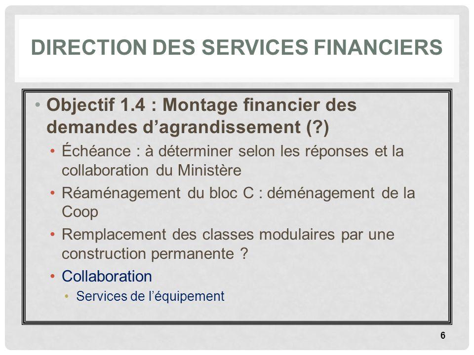 DIRECTION DES SERVICES FINANCIERS Objectif 1.4 : Montage financier des demandes dagrandissement (?) Échéance : à déterminer selon les réponses et la c