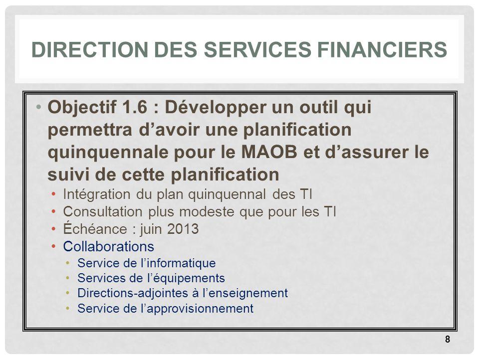 DIRECTION DES SERVICES FINANCIERS Objectif 1.6 : Développer un outil qui permettra davoir une planification quinquennale pour le MAOB et dassurer le s