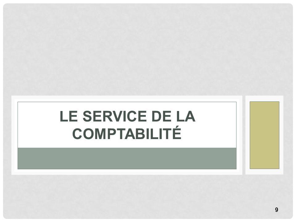 9 LE SERVICE DE LA COMPTABILITÉ