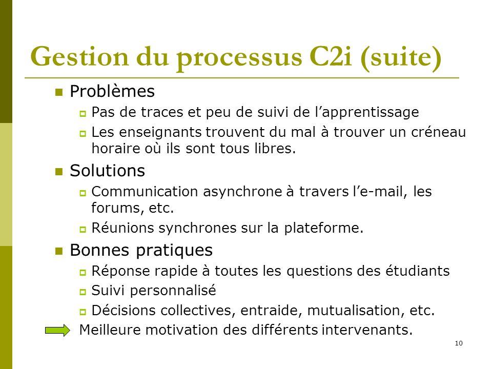 10 Gestion du processus C2i (suite) Problèmes Pas de traces et peu de suivi de lapprentissage Les enseignants trouvent du mal à trouver un créneau hor