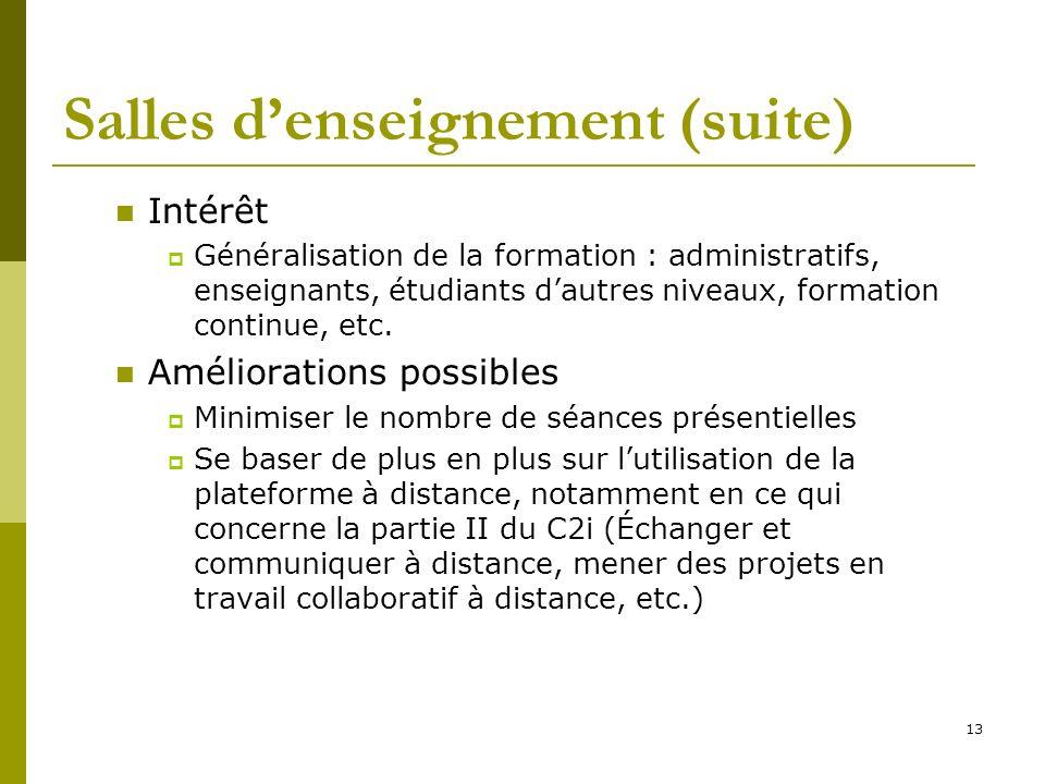 13 Salles denseignement (suite) Intérêt Généralisation de la formation : administratifs, enseignants, étudiants dautres niveaux, formation continue, e