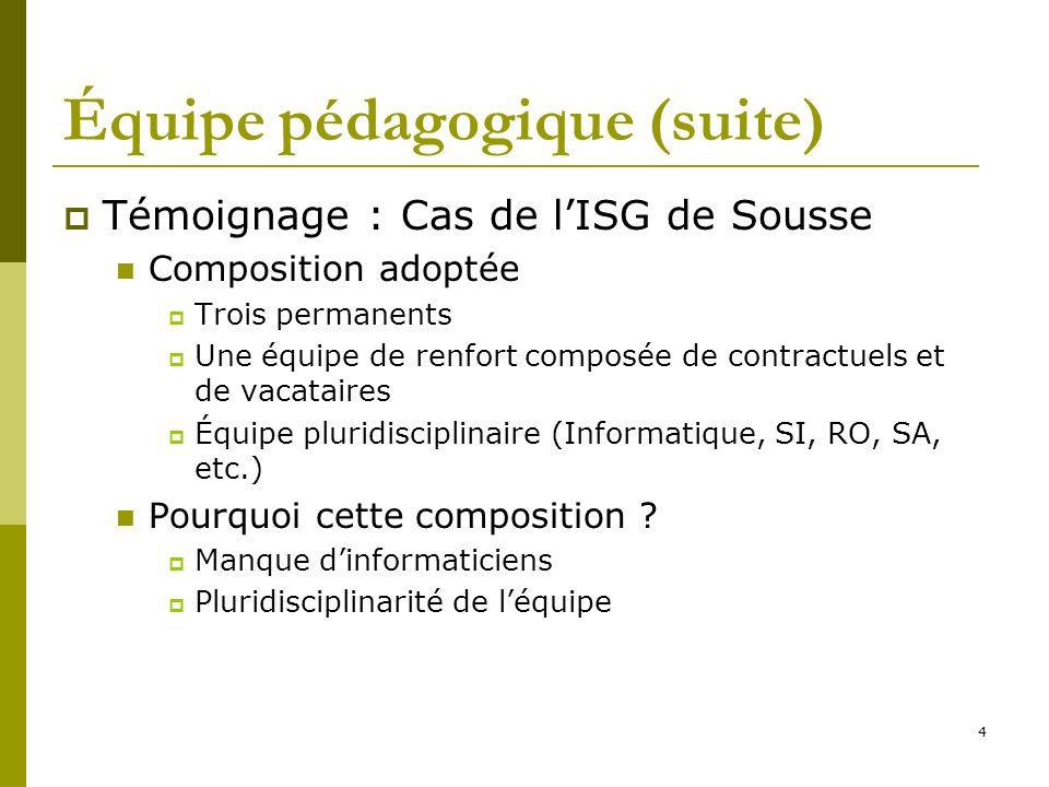 4 Équipe pédagogique (suite) Témoignage : Cas de lISG de Sousse Composition adoptée Trois permanents Une équipe de renfort composée de contractuels et