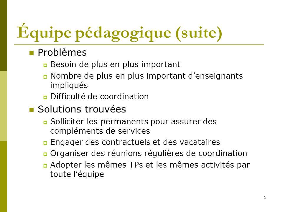 5 Équipe pédagogique (suite) Problèmes Besoin de plus en plus important Nombre de plus en plus important denseignants impliqués Difficulté de coordina