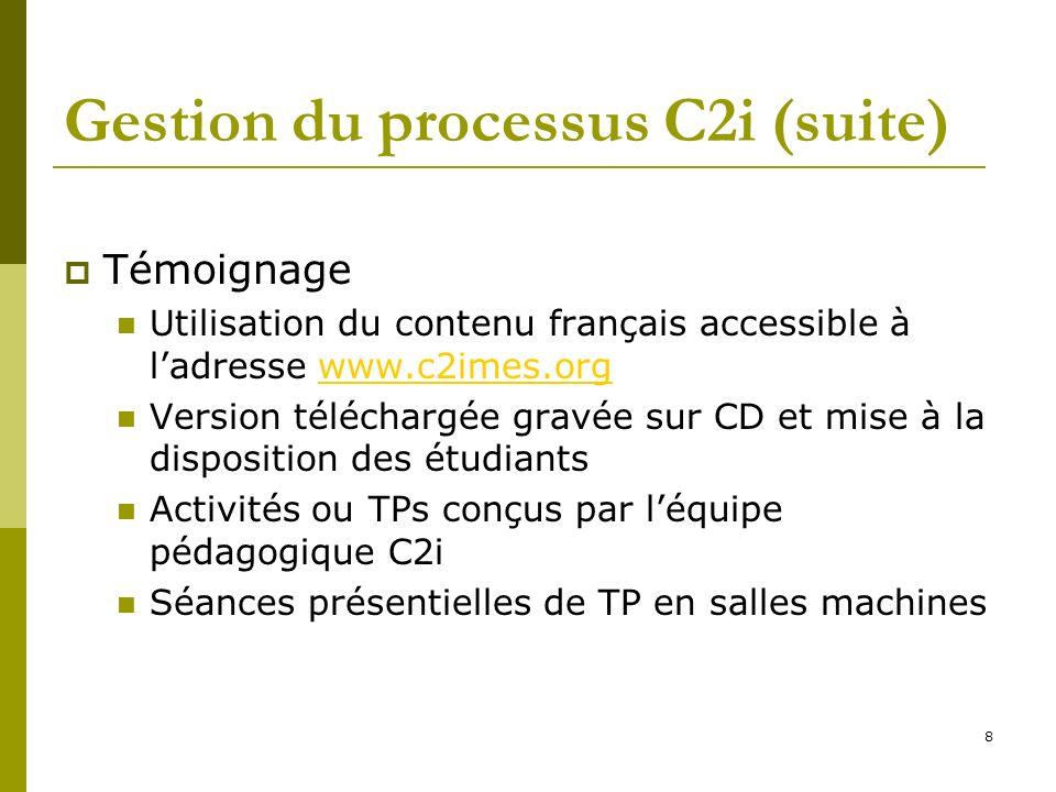8 Gestion du processus C2i (suite) Témoignage Utilisation du contenu français accessible à ladresse www.c2imes.orgwww.c2imes.org Version téléchargée g