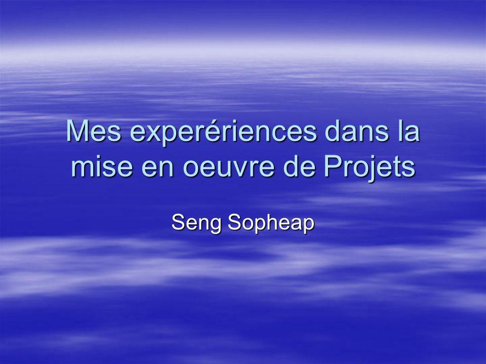 Mes experériences dans la mise en oeuvre de Projets Seng Sopheap
