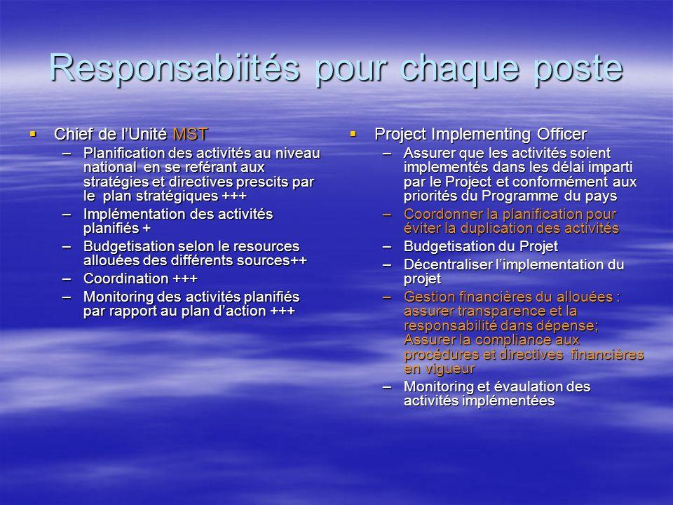 Responsabiités pour chaque poste Chief de lUnité MST Chief de lUnité MST –Planification des activités au niveau national en se reférant aux stratégies