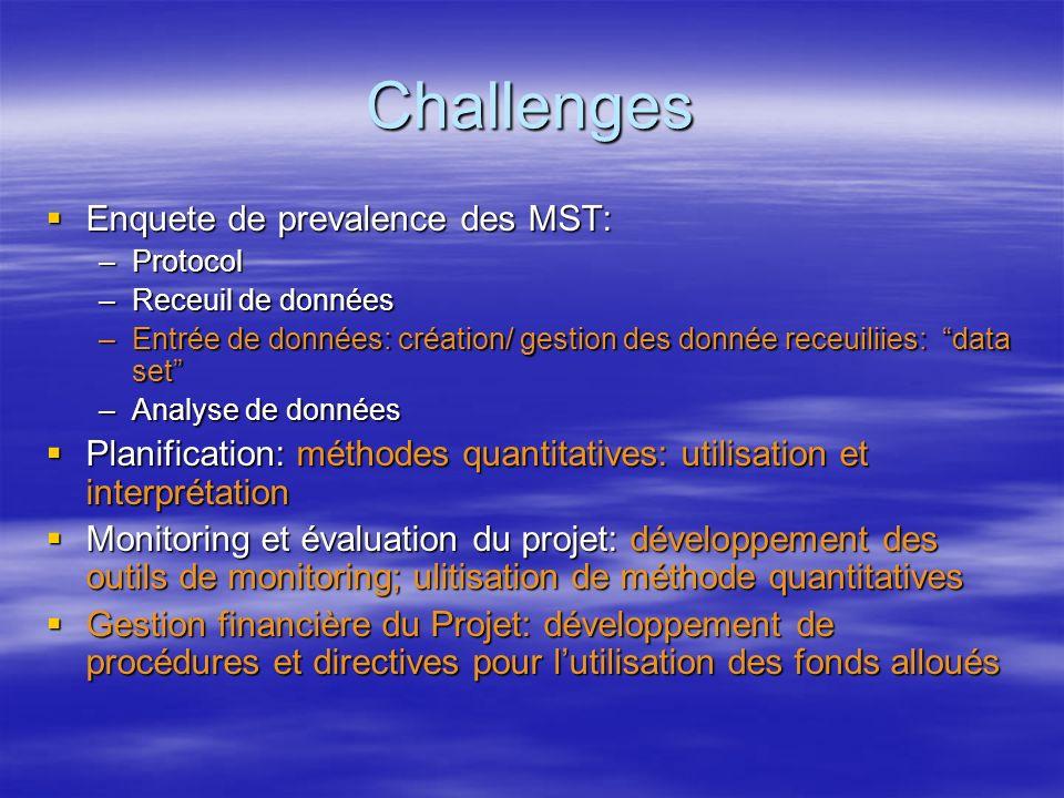 Challenges Enquete de prevalence des MST: Enquete de prevalence des MST: –Protocol –Receuil de données –Entrée de données: création/ gestion des donné