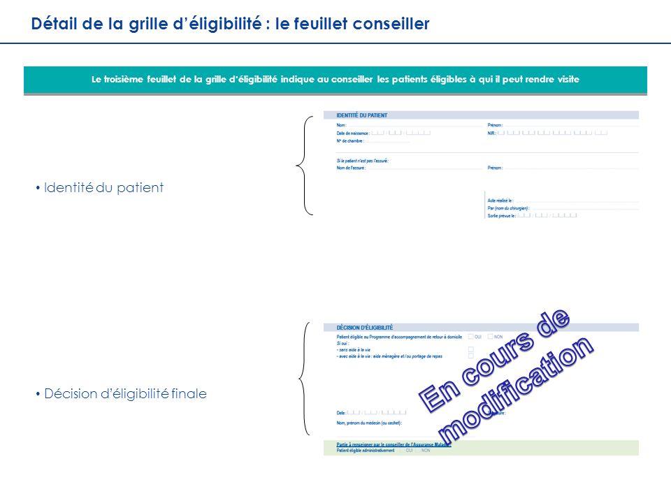 16 DDGOS / DDO Réunion Généralisation PRADO Orthopédie 21 octobre 2013 Détail de la grille déligibilité : le feuillet conseiller Identité du patient D