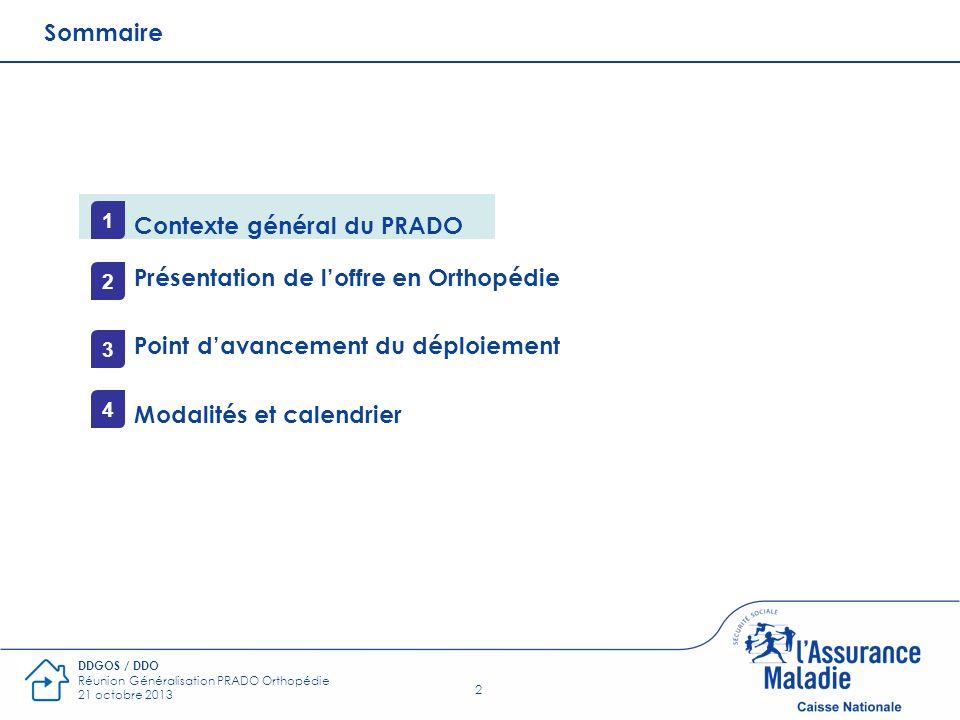 2 DDGOS / DDO Réunion Généralisation PRADO Orthopédie 21 octobre 2013 Sommaire Contexte général du PRADO Présentation de loffre en Orthopédie Point da