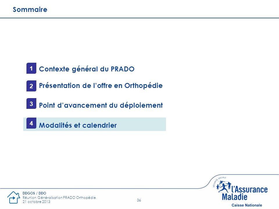 36 DDGOS / DDO Réunion Généralisation PRADO Orthopédie 21 octobre 2013 Sommaire Contexte général du PRADO Présentation de loffre en Orthopédie Point d