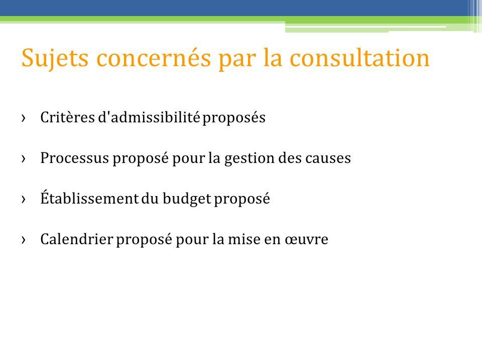 Sujets concernés par la consultation Critères d'admissibilité proposés Processus proposé pour la gestion des causes Établissement du budget proposé Ca
