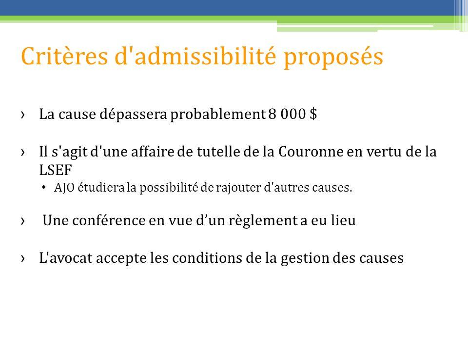 Critères d admissibilité proposés La cause dépassera probablement 8 000 $ Il s agit d une affaire de tutelle de la Couronne en vertu de la LSEF AJO étudiera la possibilité de rajouter d autres causes.