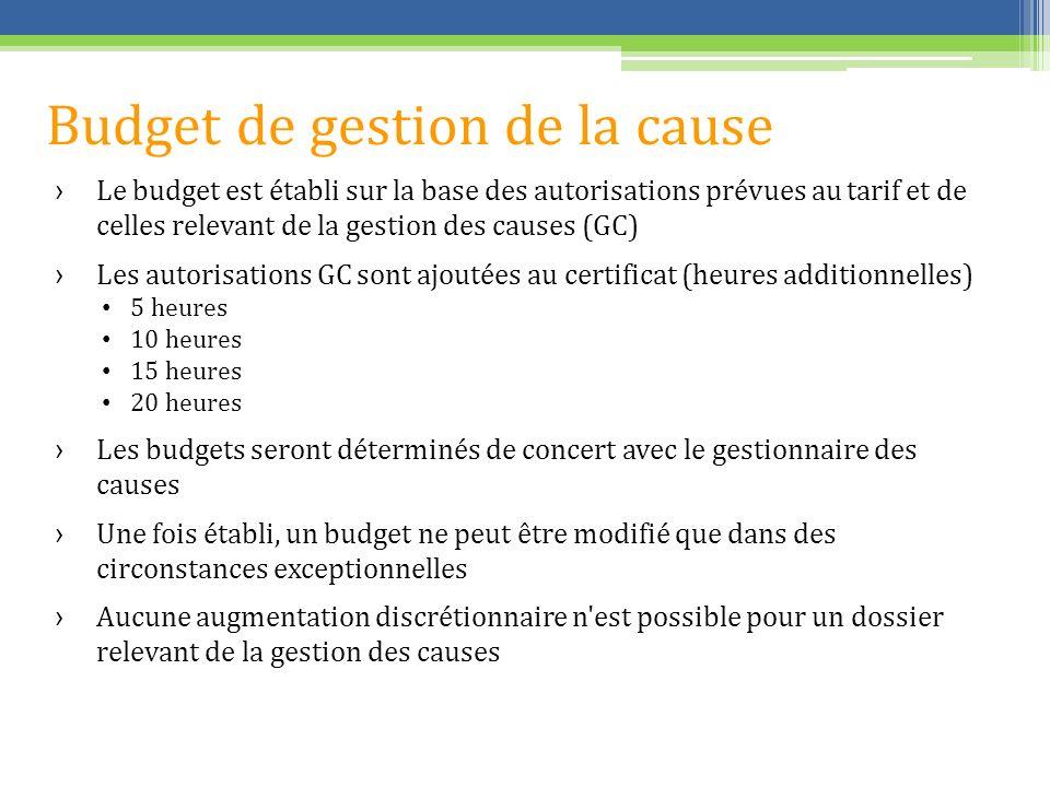 Budget de gestion de la cause Le budget est établi sur la base des autorisations prévues au tarif et de celles relevant de la gestion des causes (GC)