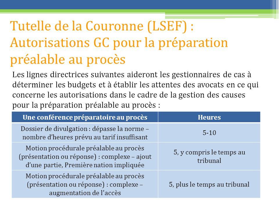 Tutelle de la Couronne (LSEF) : Autorisations GC pour la préparation préalable au procès Les lignes directrices suivantes aideront les gestionnaires d
