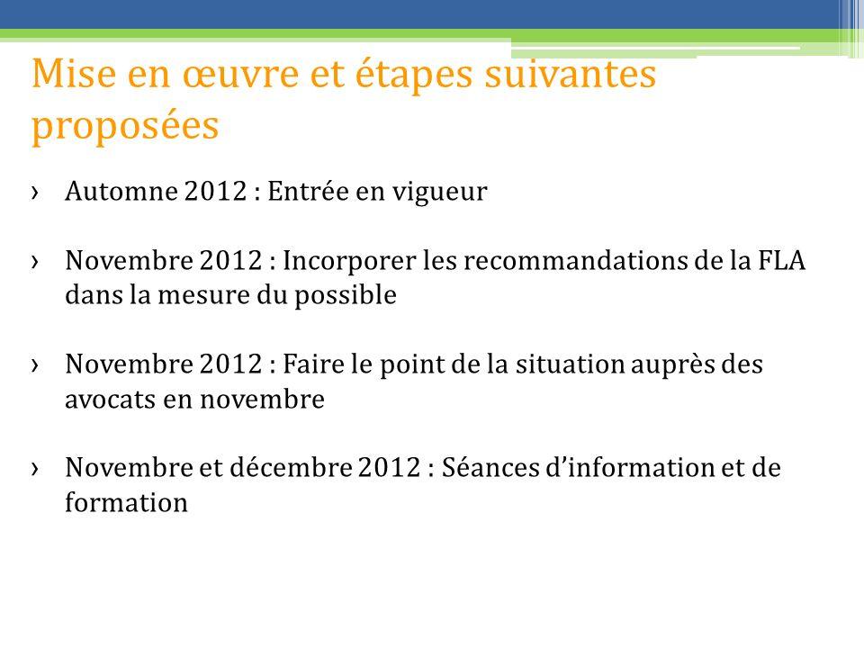 Mise en œuvre et étapes suivantes proposées Automne 2012 : Entrée en vigueur Novembre 2012 : Incorporer les recommandations de la FLA dans la mesure du possible Novembre 2012 : Faire le point de la situation auprès des avocats en novembre Novembre et décembre 2012 : Séances dinformation et de formation