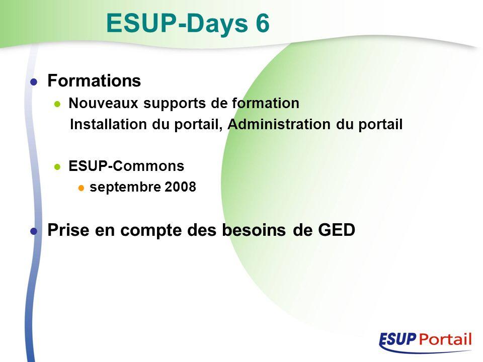 ESUP-Days 6 Formations Nouveaux supports de formation Installation du portail, Administration du portail ESUP-Commons septembre 2008 Prise en compte des besoins de GED