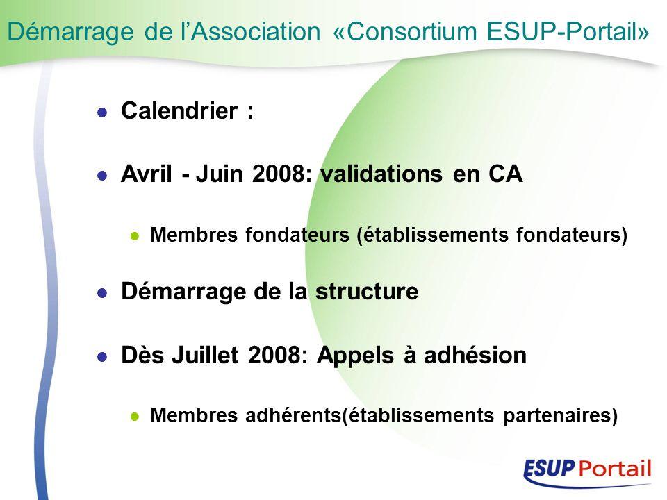 Démarrage de lAssociation «Consortium ESUP-Portail» Calendrier : Avril - Juin 2008: validations en CA Membres fondateurs (établissements fondateurs) Démarrage de la structure Dès Juillet 2008: Appels à adhésion Membres adhérents(établissements partenaires)