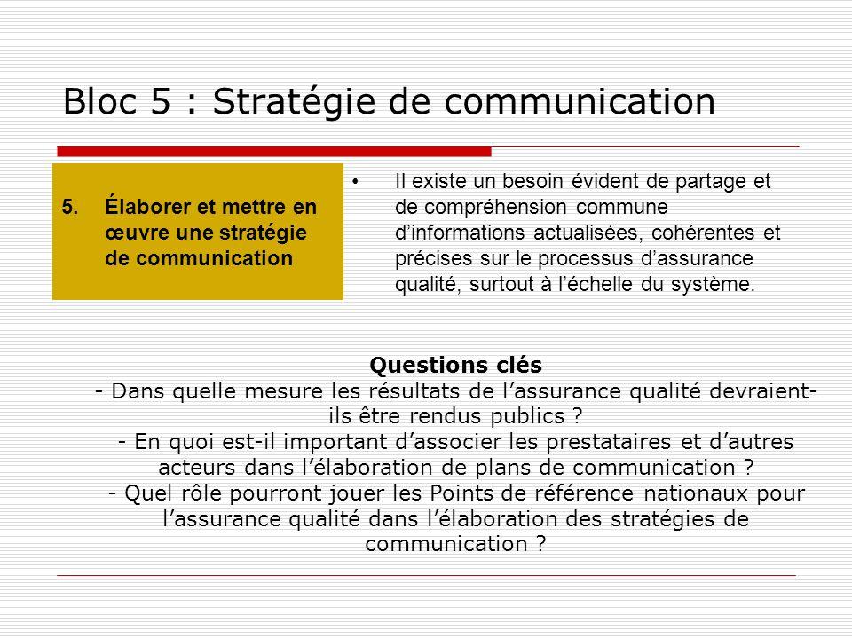 Bloc 5 : Stratégie de communication 5.